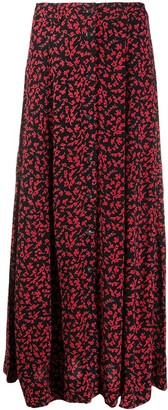 Ganni Floral Print Buttoned Mid Skirt