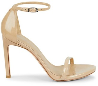 Stuart Weitzman Nudistsong Ankle-Strap Metallic Leather Sandals