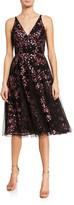 Dress the Population Courtney Embroidered Tulle Sleeveless A-Line Dress
