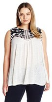 Lucky Brand Women's Plus-Size Shell with Embroidery In Lucky White