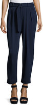 Catherine Malandrino Pleat-Front Crop Trouser, Navy