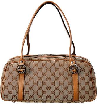 Gucci Brown Gg Canvas & Leather Twins Boston Bag