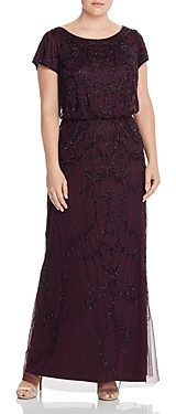 Adrianna Papell Plus Short-Sleeve Beaded Gown