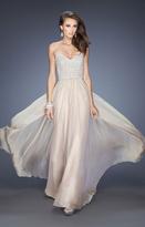 La Femme Embellished Sweetheart Dress in Nude 20211