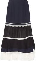 Jonathan Simkhai Embellished Paneled Chiffon And Silk-crepe Midi Skirt