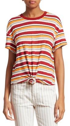 Frame Wear Thin Striped Linen Tee