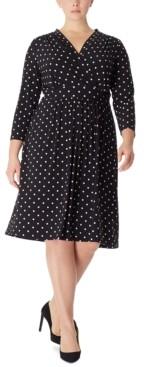 Anne Klein Plus Size Dot-Print Knit Dress
