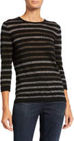 Neiman Marcus Cashmere Collection Metallic Stripe Crewneck 3/4-Sleeve Cashmere Sweater