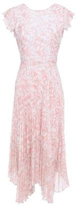 Markus Lupfer Sadie Wrap-effect Pleated Floral-print Crepe De Chine Midi Dress