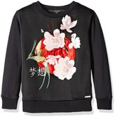 GUESS Big Girls' Glamour Fleece Top with Applique and Embroidery