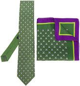 Etro penguin print tie and pocket square set - men - Silk - One Size