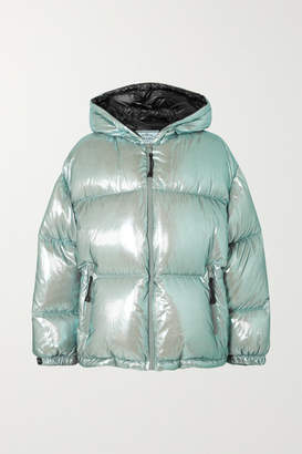 Prada Oversized Quilted Metallic Shell Down Jacket - Mint