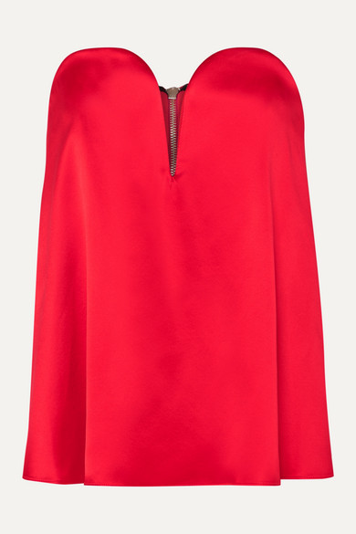 Michael Lo Sordo Layered Silk-satin And Faille Bustier Top