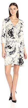 Calvin Klein Women's 3/4 Sleeve Printed Wrap Dress