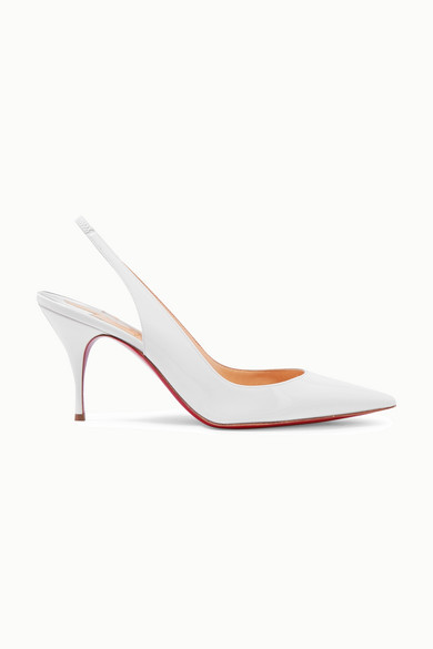 Christian Louboutin Clare 80 Patent-leather Slingback Pumps - White