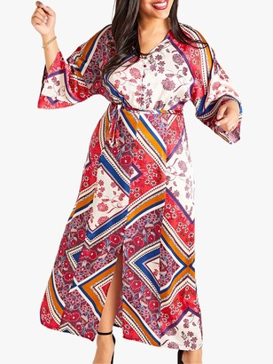 Yumi Curves Scarf Print Dress, Multi