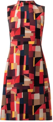 Akris Abstract Sleeveless Wool-Blend Mockneck Dress