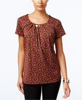 NY Collection Embellished Printed Top