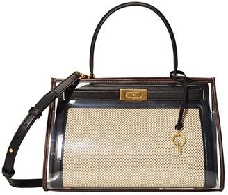 Tory Burch Lee Radziwill Canvas Small Bag w/ Raincoat (Natural/Black) Handbags