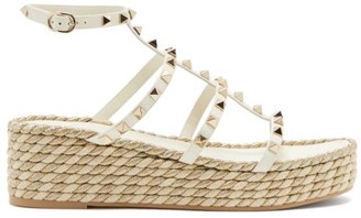Valentino Torchon Rockstud Leather Wedge Sandals - White Gold