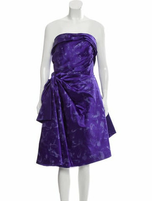 Oscar de la Renta Silk Cocktail Dress Purple