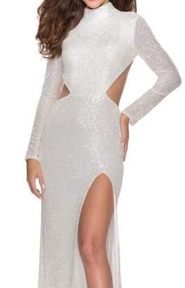 La Femme Long Sleeve Sequin Gown