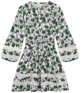 Maje Roman Lace Inset Floral Print Dress