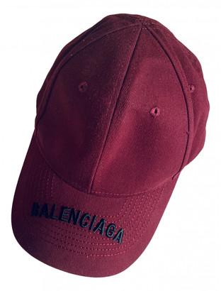 Balenciaga Burgundy Cotton Hats & pull on hats