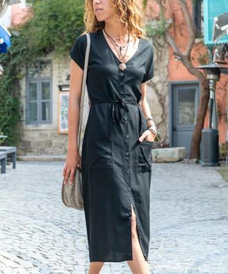 New Laviva Women's Casual Dresses Black - Black Pocket Button-Up Midi Dress - Women