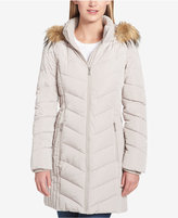 Tommy Hilfiger Petite Faux-Fur-Trim Chevron-Quilted Puffer Coat