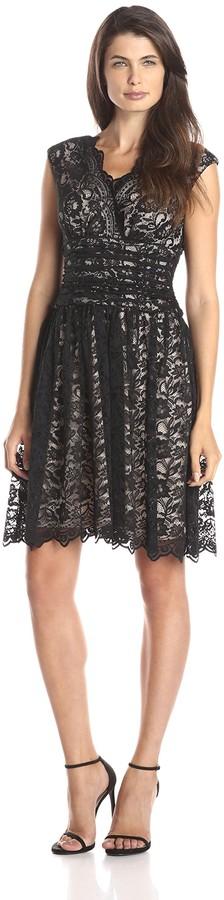 London Times Women's Cap Sleeve Shirred Waist Lace Full Skirt Dress