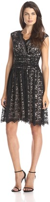 London Times Women's Cap Sleeve Shirred Waist Lace Full Skirt Dress