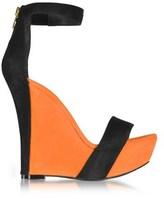 Balmain Women's Orange Suede Wedges.