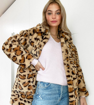 Topshop Petite faux fur coat in leopard print