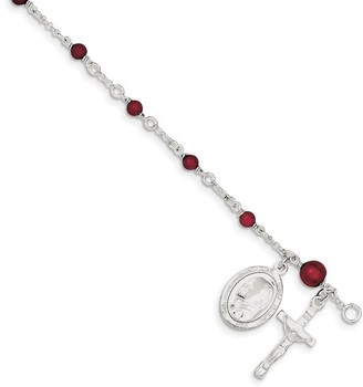 Sterling Silver Children's and Rhodolite Garnet Rosary Bracelet by Versil