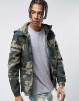 Pull&bear Zip Through Hooded Jacket In Khaki Camo