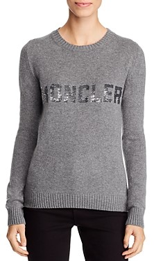 Moncler Wool & Cashmere Sequin Logo Sweater
