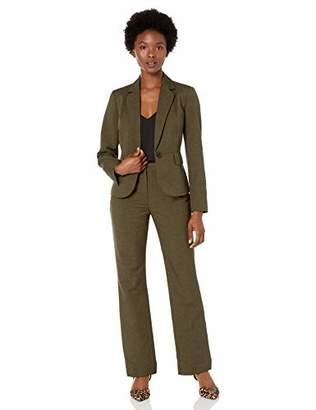 Le Suit Womens Glazed Melange 2 Button Notch Collar Pant Suit