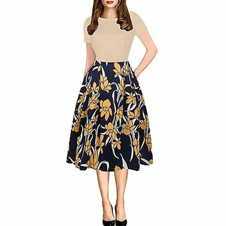 DEELIN Women's Dresses Summer 2019 Round Collar Short Sleeve Floral Polka Dot Vintage Elegant Ladies Formal Dress High Waist Midi Dresses Plus Size(Beige S)