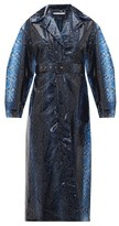 Emilia Wickstead Wilmer Python-print Pvc Trench Coat - Womens - Blue Multi