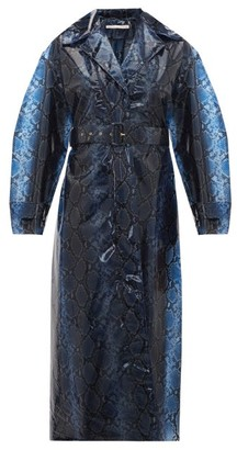 Emilia Wickstead Wilmer Python-print Pvc Trench Coat - Blue Multi