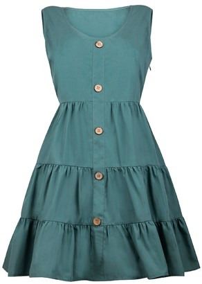 Goodnight Macaroon 'Tay' Button Front Flared Dress (2 Colors)
