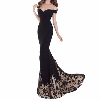 WUDUBE Women Elegant Maxi Dress A-line Floor Length Black Clothing for Ladies Going Out Novelty Swing Fashion Sexy Casual Swing Party Prom Dress