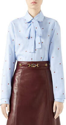 Gucci Strawberry Fil Coupe Tie-Neck Blouse