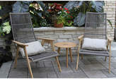OUTDOOR INTERIORS Outdoor Interiors Teak and Wicker Basket LoungingSet with Teak Table