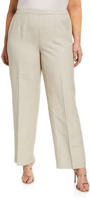 Kasper Plus Plus Size Linen-Blend Pants