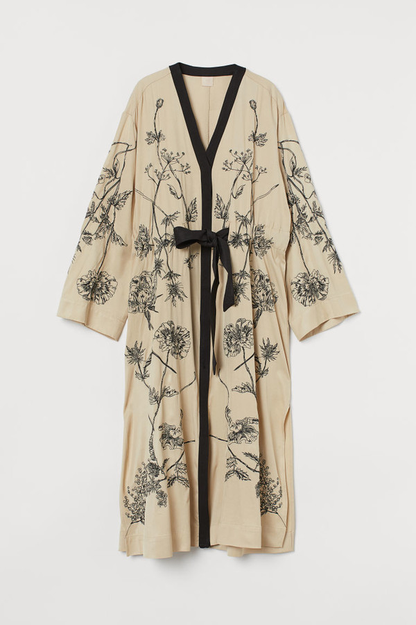 H&M Embroidered Kaftan Dress - Beige