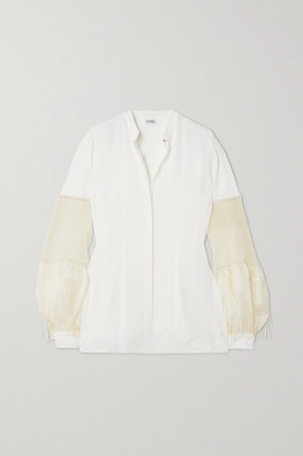 Loewe Crepe De Chine And Pleated Embroidered Silk-chiffon Blouse - White