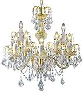 clear Loxton Lighting 9 Light Crystal Effect Gold Chandelier, Gold