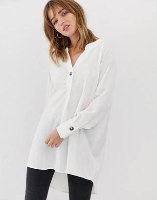 JDY button detail oversized shirt-White
